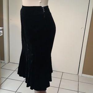 Loft Silk Velvet Ruffled Hem Skirt